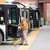 BEN GARVER — THE BERKSHIRE EAGLE<br /> BRTA ia keeping several routes open through the strike with supervisors at the wheel. A passenger gets on the bus  at the Pittsfield Intermodal Transportation Center.