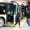 BEN GARVER — THE BERKSHIRE EAGLE<br /> BRTA ia keeping several routes open through the strike with supervisors at the wheel. Passengers get off and on the bus at the Pittsfield Intermodal Transportation Center.