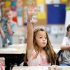 BEN GARVER — THE BERKSHIRE EAGLE<br /> First grader Isabella Mandell, age 7, is eager to answer her teacher, Laura Groves, on her first day of School at Stearns Elementary School in Pittsfield, Mass., Tuesday, September 3, 2019.