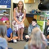 BEN GARVER — THE BERKSHIRE EAGLE<br /> Ashley McLaughlins greets her fourth grade class at Stearns Elementary School on the first day of School, Tuesday, September 3, 2019.