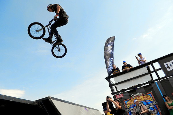 "A pro BMX rider goes big off a ramp during the Backyard BBQ Tour at the Flatiron Crossings mall in Broomfield on Saturday, June 4. For more photos and video of the event go to  <a href=""http://www.dailycamera.com"">http://www.dailycamera.com</a><br /> Jeremy Papasso/ Camera"