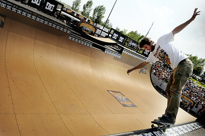 Jared Leehager, 26, of Long Beach, C.A., does a 50/50 grind on the halfpipe during the Backyard BBQ Tour at the Flatiron Crossings mall in Broomfield on Saturday, June 4. For more photos and video of the event go to www.dailycamera.com Jeremy Papasso/ Camera