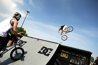 Pro BMX riders hit the ramp during the Backyard BBQ Tour at the Flatiron Crossings mall in Broomfield on Saturday, June 4. For more photos and video of the event go to www.dailycamera.com Jeremy Papasso/ Camera