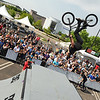 "A pro BMX rider does a backflip over a ramp during the Backyard BBQ Tour at the Flatiron Crossings mall in Broomfield on Saturday, June 4. For more photos and video of the event go to  <a href=""http://www.dailycamera.com"">http://www.dailycamera.com</a><br /> Jeremy Papasso/ Camera"