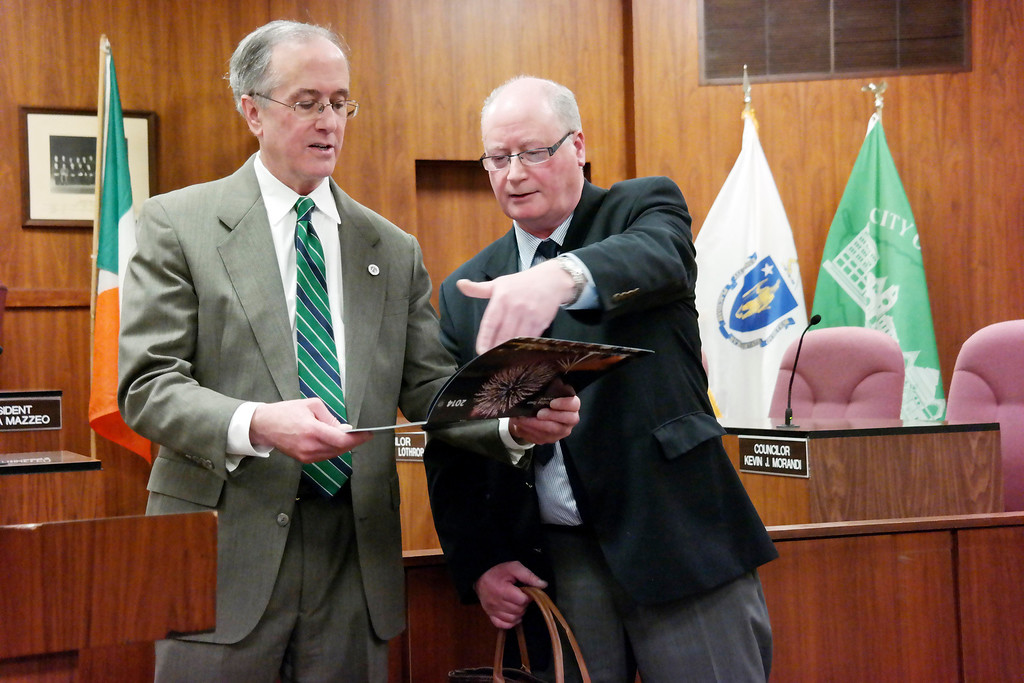 . Pittsfield Mayor Dan Bianchi exchanges gifts with Willie Noolan, former Mayor of Ballina at a reception in City Hall. Friday March 14, 2014. Ben Garver Berkshire Eagle Staff