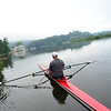 KRISTOPHER RADDER — BRATTLEBORO REFORMER<br /> David Gessner, of Guilford, takes off in his single race shell on the West River on Monday, Aug. 6, 2018.