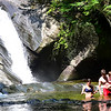 KRISTOPHER RADDER — BRATTLEBORO REFORMER<br /> People go swimming at Hamilton Falls, in Jamaica, Vt., to cool off from the humid temperatures on Tuesday, Aug. 7, 2018.