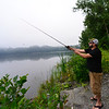 KRISTOPHER RADDER — BRATTLEBORO REFORMER<br /> David Dias, of Brattleboro, tosses out his line at the Retreat Meadow as he goes fishing early Monday morning to beat the heat on Aug. 6, 2018.