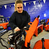 KRISTOPHER RADDER — BRATTLEBORO REFORMER<br /> Elaine Judd, owner of Judd's Power Equipment, in Westminster, assembles a new snowblower to prepare for winter on Thursday, Nov. 14, 2019.
