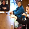 BEN GARVER — THE BERKSHIRE EAGLE<br /> Pittsfield City Councilor Melissa Mazzeo visits with the  Berkshire County Grandparents who Raise Grandchildren at the First United Methodist Church.