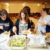BEN GARVER — THE BERKSHIRE EAGLE <br /> Kathy Myrick, Tamara Harvey and Shirley McIntosh grab some dinner as part of a meeting of the Berkshire County Grandparents Raising Grandchildren at the First United Methodist Church in Pittsfield.