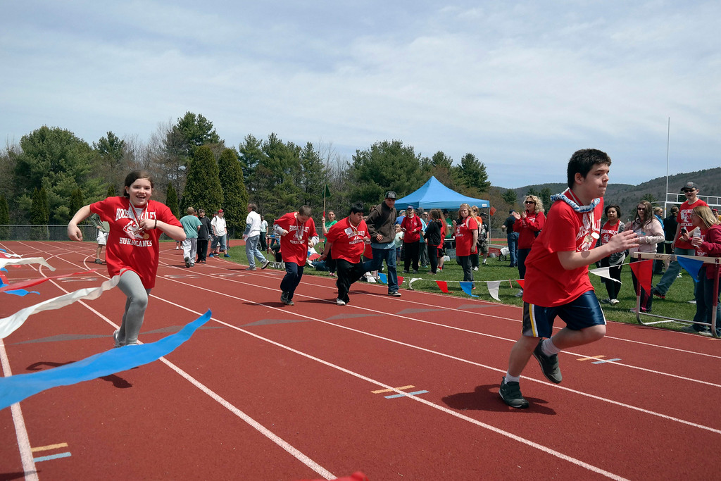 . THe Berkshire County Special Olympics were held today at Monument Mountain regional High School. The team running here is from Hoosac Valley and are running the 100m dash.  Wednesday May 7, 2014.  Ben Garver / Berkshire Eagle Staff / photos.berkshireeagle.com