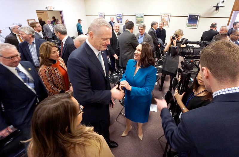 BEN GARVER — THE BERKSHIRE EAGLE<br /> Massachusetts Governor Charlie Baker and Pittsfield Mayor Linda Tyer shake hands after a press announcement about the future groundbreaking of the Berkshire Innovation Center or BIC, Friday, March 9, 2019 at Pittsfield City Hall.