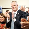 BEN GARVER — THE BERKSHIRE EAGLE<br /> Massachusetts Governor Charlie Baker and Lt. Governor  Karyn Polito applaud at the conclusion of an announcement to begin work on the Berkshire Innovation Center at Pittsfield City Hall.