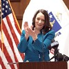 BEN GARVER — THE BERKSHIRE EAGLE<br /> Pittsfield Mayor Linda Tyer applauds during a press announcement about the future groundbreaking of the Berkshire Innovation Center or BIC, Friday, March 9, 2019 at Pittsfield City Hall.