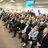 BEN GARVER — THE BERKSHIRE EAGLE<br /> Housing and Economic Development Secretary Jay Ash addresses a packed crowd at City Hall to announce progress with the Berkshire Innovation Center.