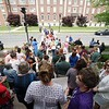 BEN GARVER — THE BERKSHIRE EAGLE<br /> Employees of Berkshire Health Systems gather at the Bishop-Clapp Building to sign a petition for the RNs to accept a contract offer and gather for a group photo.  The employees are from all departments of the health system and fear a disruption of services caused by a strike. Over 110 people from the Pittsfield campus showed up for the brief demonstration.
