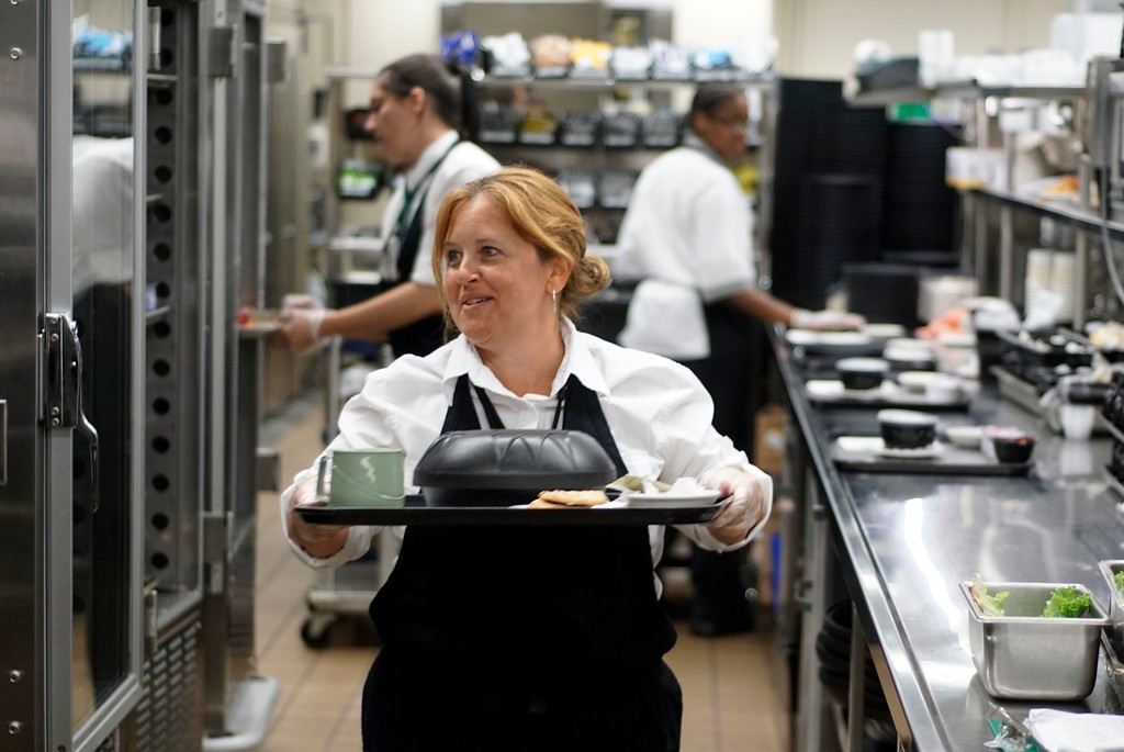 ". Christine LeClair, dietary office supervisor at BMC, say\'s ""the routine is definitely gone, definitely more restaurant style,\"" Thursday August 4, 2016. In January, BMc converted their kitchen from an institutional one to function like a restaurant overnite. Ben Garver � The Berkshire Eagle 