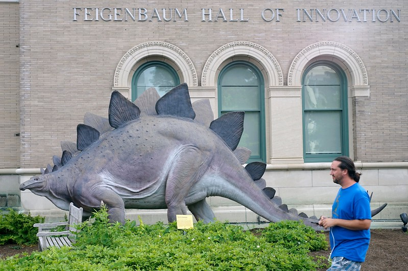 BEN GARVER — THE BERKSHIRE EAGLE<br /> Wally the Stegosaurus stands in his habitat in the gardens outside the Berkshire Museum. Wally was the second stegosaurus statue created from a mold made by the Louis Paul Jonas Studios of Hudson, N.Y.