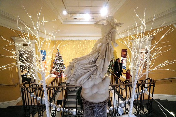 BEN GARVER — THE BERKSHIRE EAGLE<br /> THe staircase leading to the Ellen Judith Crane Memorial Room is guarded by the Lost Pleiad statue at The Berkshire Museum, December 3, 2019.