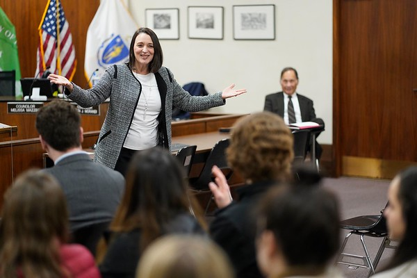 BEN GARVER — THE BERKSHIRE EAGLE<br /> Pittsfield Mayor Linda Tyer speaks to the Berkshire Youth Leadership Program on government. 13 youth leaders from Berkshire schools met in Pittsfield City Hall for the 1Berkshire Youth Leadership Program to talk about government, Tuesday January 8, 2019.