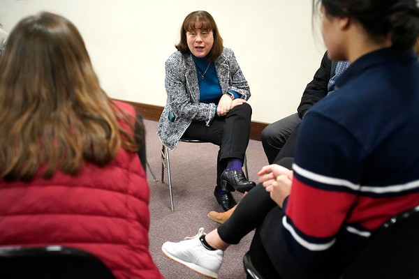 BEN GARVER — THE BERKSHIRE EAGLE<br /> Representative Tricia Farley-Bouvier speaks to the Berkshire Youth Leadership Program on government. 13 youth leaders from Berkshire schools met in Pittsfield City Hall for the 1Berkshire Youth Leadership Program to talk about government, Tuesday January 8, 2019.