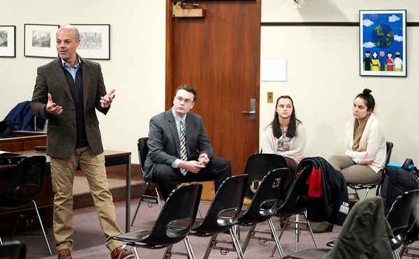 BEN GARVER — THE BERKSHIRE EAGLE<br /> Senator Adam Hinds speaks to the Berkshire Youth Leadership Program on government. 13 youth leaders from Berkshire schools met in Pittsfield City Hall for the 1Berkshire Youth Leadership Program to talk about government, Tuesday January 8, 2019.