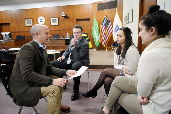 BEN GARVER — THE BERKSHIRE EAGLE<br /> Senator Adam Hinds works with a small group in the Berkshire Youth Leadership Program on a plan for transportation in the county. 13 youth leaders from Berkshire schools met in Pittsfield City Hall for the 1Berkshire Youth Leadership Program to talk about government, Tuesday January 8, 2019.
