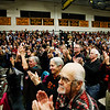 Fans and supporters applaud Bernie Sanders on Tuesday during his appearance at Burr and Burton Academy in Manchester.<br /> Holly Pelczynski - Bennington Banner