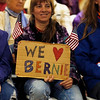 "Holly Pelczynski - Bennington Banner Bonnie Eade, of Bennington, Welcomes Senator Bernie Sanders to the ount Anythony Union Middle School with a ""We Love Bernie"" Sign."