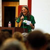 Holly Pelczynski - Bennington Banner Mary Garish introduces Democratic Vermont Senator Bernie Sanders on Saturday during an election rally held to campaign for local candidates at The Mount Anthony Union Middle School.