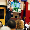 Holly Pelczynski - Bennington Banner Senator Bernie Sanders urges the crowd to get out and vote during a rally held for local democratic candidates.