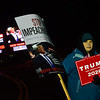 KRISTOPHER RADDER — BRATTLEBORO REFORMER<br /> Stephanie Plante, from Marlborough, N.H., shows her support for President Donald Trump outside of a rally for Democratic presidential candidate Sen. Bernie Sanders, I-Vt., at Stonewall Farm, in Keene, N.H., on Sunday, Dec. 22, 2019.