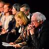 KRISTOPHER RADDER - BRATTLEBORO REFORMER<br /> U.S. Senator Bernie Sanders listens to Jim Version at the Latchis Theatre, in Brattleboro, Vt., during a Windham Grows event on Thursday, March 16, 2017.