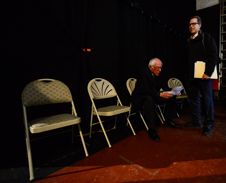 KRISTOPHER RADDER - BRATTLEBORO REFORMER<br /> U.S. Senator Bernie Sanders prepares for his  speech during a Windham Grows event at the Latchis Theatre, in Brattleboro, Vt., on Thursday, March 16, 2017.