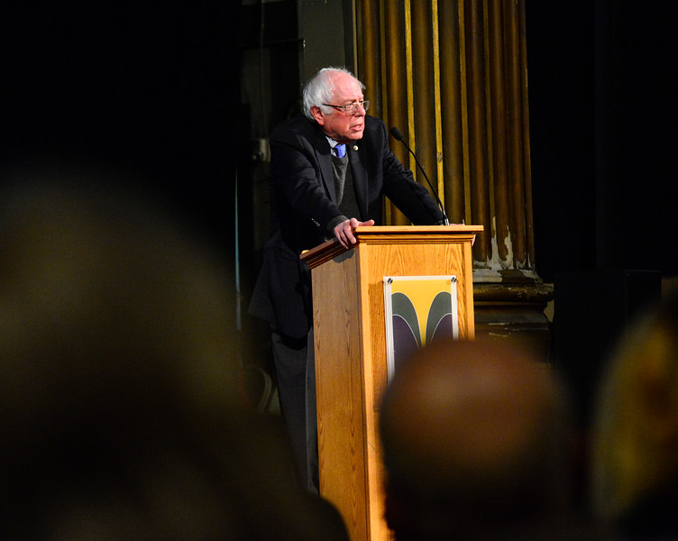 KRISTOPHER RADDER - BRATTLEBORO REFORMER<br /> U.S. Senator Bernie Sanders delivers a speech during a Windham Grows event at the Latchis Theatre, in Brattleboro, Vt., on Thursday, March 16, 2017.