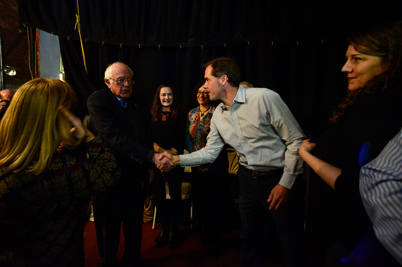 KRISTOPHER RADDER - BRATTLEBORO REFORMER<br /> U.S. Senator Bernie Sanders shake hands of entrepreneurs back stage of the Latchis Theatre before delivering a speech for Windham Grows on Thursday, March 16, 2017.