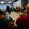 KRISTOPHER RADDER - BRATTLEBORO REFORMER<br /> Carl Greenwood asks a question to U.S. Senator Bernie Sanders during a visit to the Brattleboro, Vt., VA Clinic on Thursday, March 16, 2017.