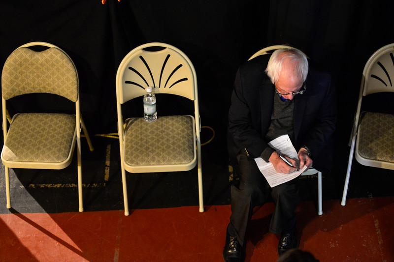 KRISTOPHER RADDER - BRATTLEBORO REFORMER<br /> U.S. Senator Bernie Sanders prepares for his  speech during a Windham Grows event at the Latchis Theatre, in Brattleboro, Vt., on Thursday, March 16, 2017.