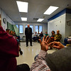 KRISTOPHER RADDER - BRATTLEBORO REFORMER<br /> Frank Wetherby asks a question to U.S. Senator Bernie Sanders during a visit to the Brattleboro, Vt., VA Clinic on Thursday, March 16, 2017.