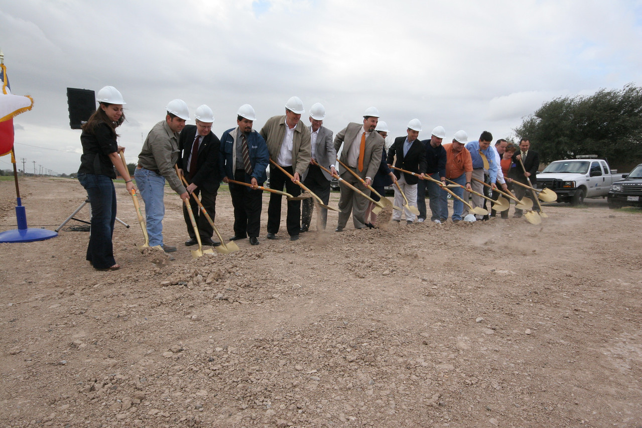 City of McAllen officials and IOC, LLC, break ground for construction of the new Bicentennial Boulevard Extension Project.