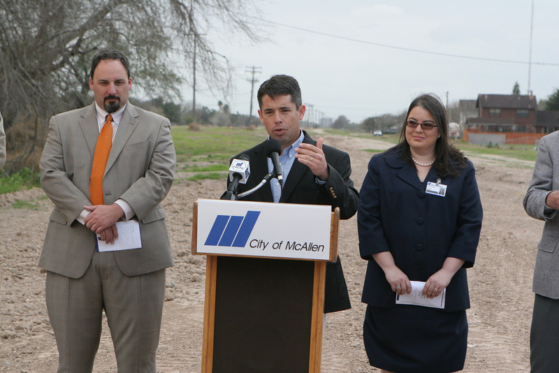 Commissioners Marcus C. Barrera and Scott Crane and City Engineer Yvette Barrera speak about the Bicentennial Boulevard Extension Project.