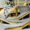 Riley Fedor, 10, keeps her balance on the course during the mountain bike clinic at Boulder Indoor Cycling in Boulder, Colorado December 15, 2009.  CAMERA/Mark Leffingwell