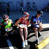 BIKE<br /> Left to right, Sheila Paxton, Ingrid Muller and Liz Mandel, all small business owners, grab some food at the Ideal Market breakfast station on Bike to Work Day.<br /> <br /> Photo by Marty Caivano/June 22, 2011