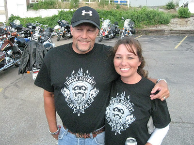 BOB SANDRICK / GAZETTE Dean and Sharon Wiley of Medina are shown at Saturday's motorcycle poker run, which raised money to fight heroin addiction.