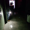 Power is turned off in Billerica Town Hall as workers try to find source of leak in heavy rain. This is in the basement around 2pm.  (SUN/Julia Malakie)