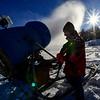 KRISTOPHER RADDER - BRATTLEBORO REFORMER<br /> Ray Blow adjusts one of the snow blowers on Thursday, Dec. 14, 2017 at Living Memorial Park as they prepare the hill to be open to skiers and snowboarders on Dec. 28.
