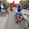 "Lisa Dumont leads a B-cycle group on a ride to NCAR during the opening day of the program.<br /> Boulder B-cycle is a community nonprofit formed to implement and operate a bike-share system in the City of Boulder. <br /> For more photos and a video of B-cycles opening day, go to  <a href=""http://www.dailycamera.com"">http://www.dailycamera.com</a>.<br /> Cliff Grassmick/ May 20, 2011"
