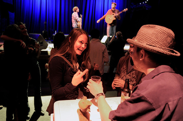 "Shelley Janes, of Boulder, laughs while ordering a beer sample from Jeff Brumley during the Boulder Brew and Music Festival on Saturday, Nov. 5, at the Fox Theatre in Boulder. For more photos and a video of the festival go to  <a href=""http://www.dailycamera.com"">http://www.dailycamera.com</a><br /> Jeremy Papasso/ Camera"