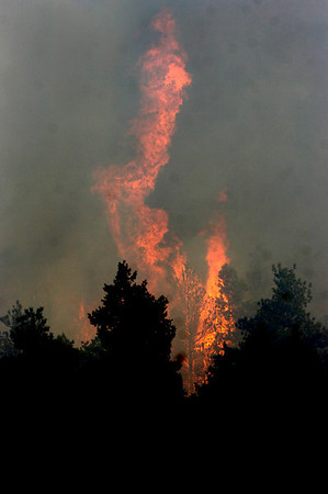 Flames shoot up from the Dome Fire as seen from Boulder Canyon on Friday morning.<br /> Photo by Paul Aiken / The Camera